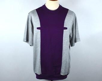 Retro Leisure Short Sleeve Shirt with Pockets, Purple & Heather Gray