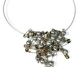 Retro Glam Punk Safety Pin Necklace, Statement Necklace,  Gray Pearl Necklace,  Edgy and Elegant, Solidarity