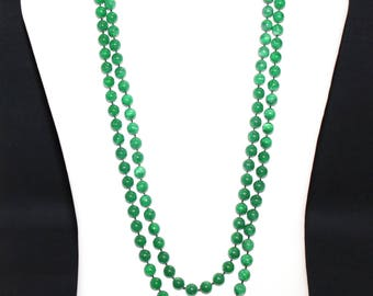 Extra Long Forest Green Marbled Bead Necklace - 62 Inches - (1395-2)