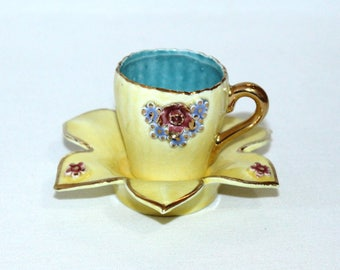 Miniature Yellow Cup and Flower-Shaped Saucer with Applied Flowers ( 329-2)