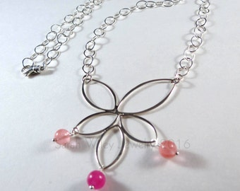 Necklace: Sterling Silver Lotus with cherry Quartz and rose-dyed Jade by Sarah Wiley Jewelry 160017LN