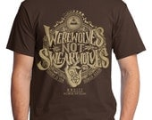 """What We Do In The Shadows T-Shirt // """"Werewolves Not Swearwolves"""" // Hand Screen Printed Shirts for WWDITS Fans // Available In Plus Size"""