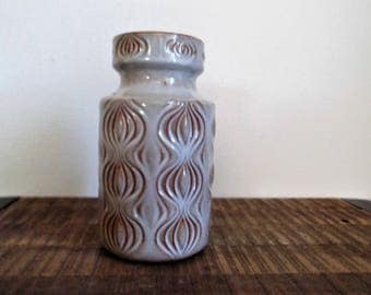 Scheurich West Germany 'Amsterdam' 'Onion' Pottery Vase Rusty Brown with White Glaze
