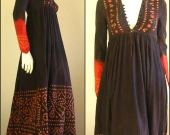 70s vintage tye die boho long maxi dress