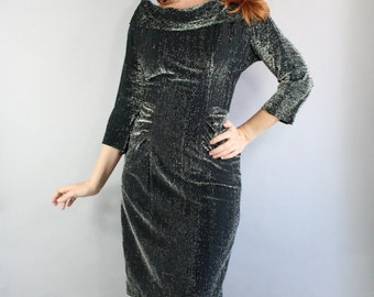 Vintage 1960s 60s Women's Silver Sparkle Holiday Party New Years Eve Wiggle Hourglass Sexy Pinup Dress