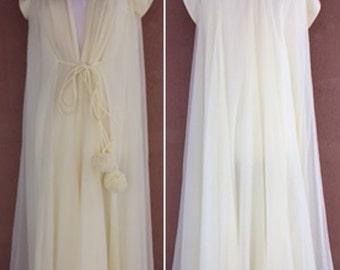 Vintage 60's - Hollywood Glamour - Pale Yellow Sheer Full Length Peignoir