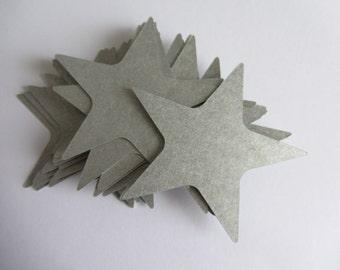 Silver Stars 60 Large Silver Paper Stars Wedding decorations Paper Die Cut Stars Scrapbooks