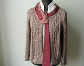 Open Front Cardigan detailed with Vintage, Repurposed Neckties, Upcycled Sweaters, Marled Sweater, Earth Tone Sweater, Eco Fashion, Hipster