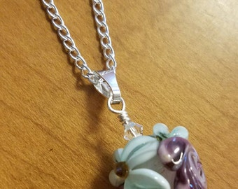 "Teal & Purple Flowered Lampwork Bead 24"" necklace sterling silver"