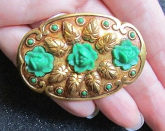 1930's Vintage Green Carved Celluloid Flowers  - C Clasp - Flower Repousse - Ornate - EPSTEAM - Edwardian - Embellished - Celluloid Flowers