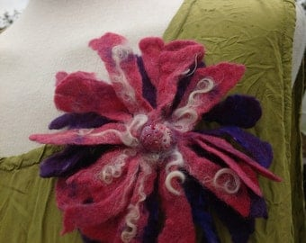 felted wool flower pin brooch in purple pink and white - Quirky corsage