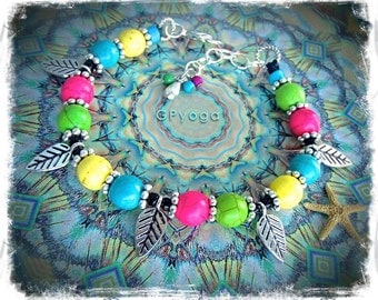 NEON Leaf Anklet Bikini Rainbow ANKLE Bracelet Fairy LEAVES anklet beaded Anklet Cowgirl Boho jewelry bare feet Wedding foot jewelry GPyoga