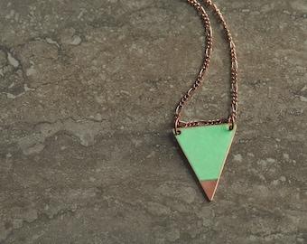 Aqua & Polished Copper Triangle Necklace