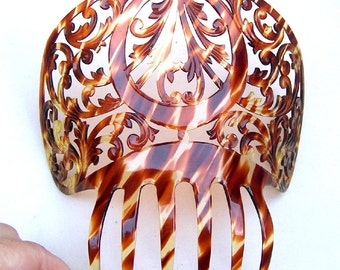 Celluloid faux tortoiseshell vintage hair comb Spanish mantilla style mid century hair accessory headpiece headdress