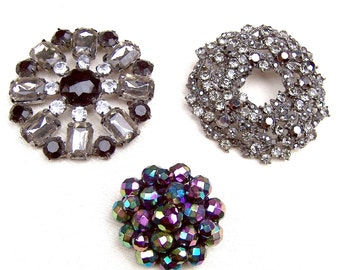 3 vintage brooches mid century jewelry rhinestone brooch vintage rhinestone pin Hollywood Regency Destash repurpose AS FOUND (AAC)