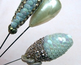 Edwardian hatpins 3 faux pearl sequin hair jewelry hat pin hat ornament ladies hat Victorian Edwardian Art Deco dress accessory (AAD)