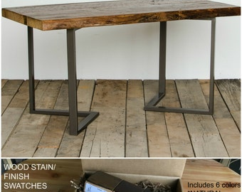 Reclaimed Office Furniture, Harvest Wood Desk, Farmhouse Office Furniture.  Buy a Finish/stain sample kit here to see them in person.