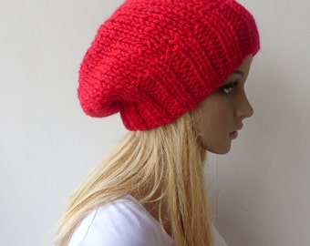 Red Knit hat Red Beanie Hat Slouchy beanie Womens Chunky Knit slouch hat Red Green beanie