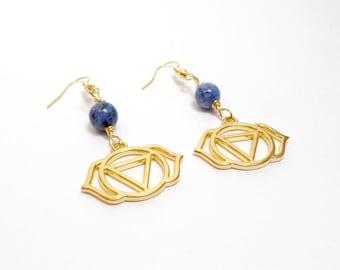 Third Eye Chakra Earrings - Lapis Earrings - Gemstone Earrings - Gold Chakra