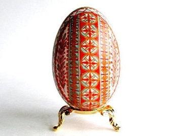 Christmas egg ornament Turquoise and red Pysanka Ukrainian Easter egg pysanky