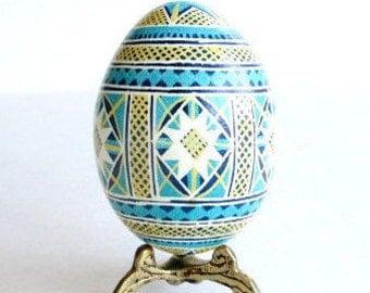 Blue Pysanka batik egg on chicken egg shell Ukrainian Easter egg hand painted egg