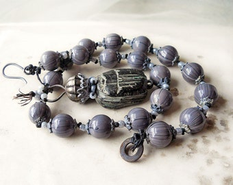 SALE - Beaded Necklace -- Scarab - Grey Glass, Indian Metal, Clay Bead - Rustic Assemblage Necklace