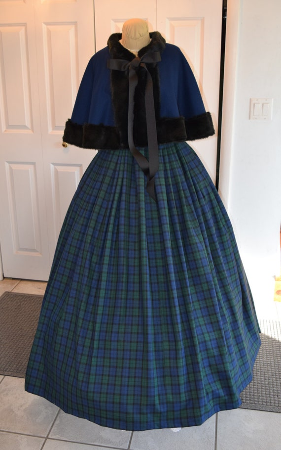 Victorian Clothing, Costumes & 1800s Fashion 1860s Dickensian Civil War skirt and capelet - custom made to order1860s Dickensian Civil War skirt and capelet - custom made to order $175.00 AT vintagedancer.com