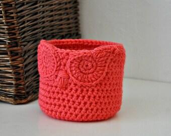 Small Coral Owl Basket Crocheted Bin Yarn Holder Woodland Nursery Decor Home Organizer