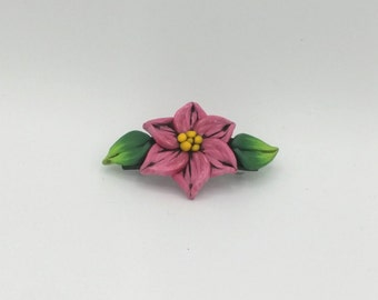 Red Flower Barrette 3.5 Inches; Christmas Pointsettia; Floral Hair Accessory; Winter Fashion; Style No: REF03
