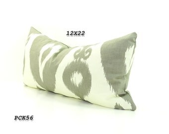 CLEARANCE sale- Gray white pillow cover, grey ikat lumbar cushion cover, gray and white throw pillow cover, gray ikat, long gray pillow.