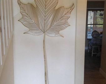 "SCULPTURAL LEAF SCONCE 90"" tall C Jere Leaf Sconce with Decorative Gold Gilt Stem Cord Cover / Signed Curtis Jere 1978 at Retro Daisy Girl"