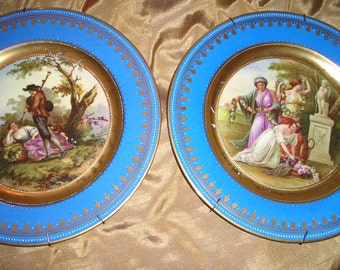 Beautiful French Chic Figural Home Decor. Romantic Hand Decorated Plates/Platters Wall Hanging Art