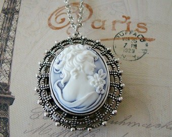 Dark Silver  Cameo Locket Necklace Wedding Bride Bridesmaids Mother Wife Sister Anniversary Gift Daughter Photo Pictures - Meredith