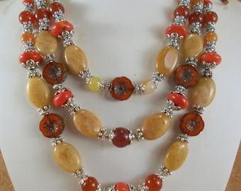Western Cowgirl Necklace Set - Chunky Honey Jade - Coral and Agate with Matching Earrings