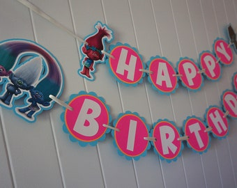Trolls Birthday Banner - MADE TO ORDER
