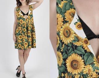 Grunge Dress Gypsy Dress Festival Dress Floral Dress Mini Dress Boho Dress Vintage 90s Sunflower Dress Boho Cotton Deep V Babydoll Mini M
