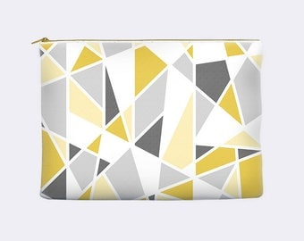 Yellow and gray cosmetic bag, geometric zippered pouch, modern pencil case, toiletry bag, cosmetic pouch, makeup bag, small clutch