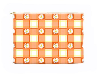 Orange cosmetic bag, daisies pencil case, floral zippered pouch, plaid, large cosmetic bag, pencil pouch, toiletry bag, makeup bag