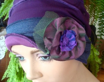 Womens Chemo hat Denim Blue Purple cancer chemotherapy Flapper Beanie Hat with taffeta Flower