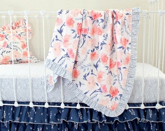 Pink and navy watercolor floral ruffle baby blanket, Watercolor Whispers baby girl bedding, bumperless crib bedding set for girls