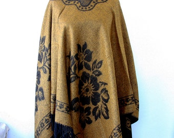 Boho chic poncho Winter fashion Bohemian cape Mustard black poncho Native american clothing winter cape Women clothings Hippie outerwear