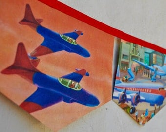 AIRPLANES Banner Vintage Little Golden Book storybook Bunting Paper Children story book Decoration Eco Baby Shower Birthday Party Boys gift