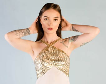Vintage 1970's Sequin Halter Dress