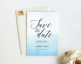 Save the Date Cards, Watercolor Save the Date, Modern Save the Date, Minimal Save the Date, Ombre, Printed - SAMPLE