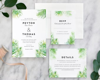 Tropical Palm Leaf Wedding Invitation Suite, Green Wedding Invites, Palm Leaves