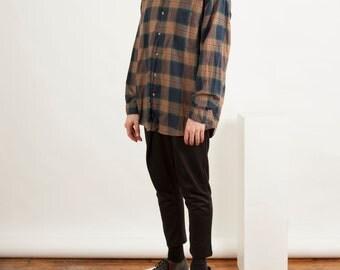 Beige Plaid Shirt / Long Sleeve Flannel Button Up / Summer Mens Shirt