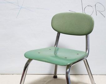 Vintage Green Industrial Children's School Chair #1