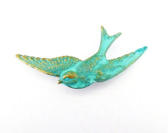Bird Pin Rustic Boutonniere Lapel Green Swallow Bird Brooch Nature Forest Animal Wedding Accessories Groomsmen Mens Womens Wife Gift For Her