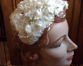 Vintage 1950s 1960s Hat White Floral