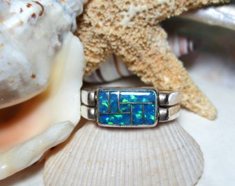 Sterling Silver Blue Lapis Lazuli and Blue Opal Flip Ring Reversible Ring